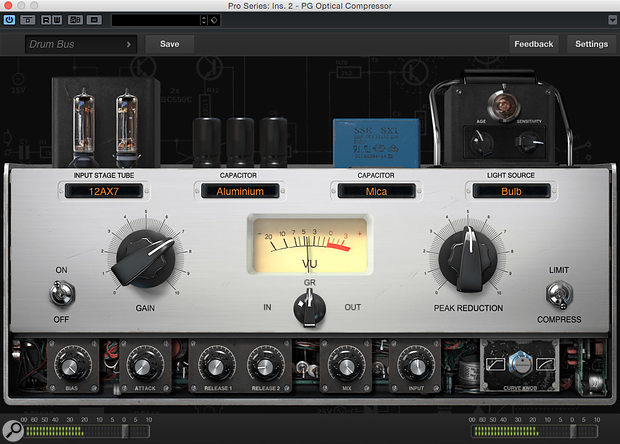 The Pro Series optical compressor: LA-2A-inspired but with the option to swap out virtual components.