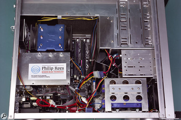 The notoriously hot Prescott Pentium 4 CPU has been tamed thanks to Philip Rees's custom metalwork and 'central airflow control system'.