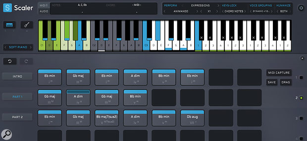 Pad mode allows you to keyswitch between multiple Patterns (chord sequences) to experiment with your overall song structure.