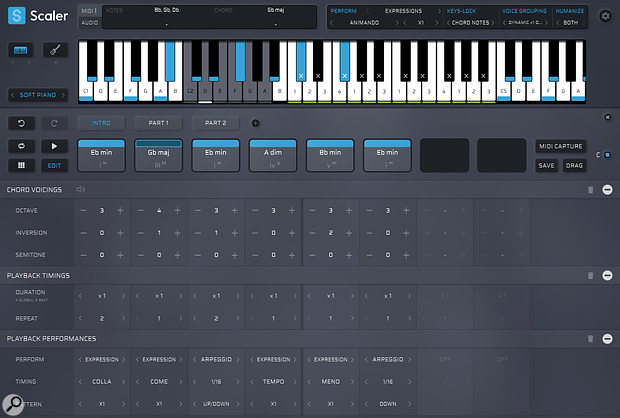 Playback performance controls can be applied on a per-chord basis via the Edit screen.
