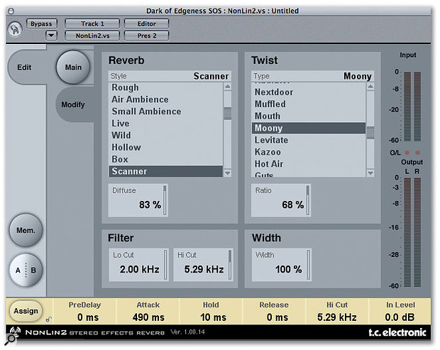 TC Electronic Non-lin Reverb plug-in.