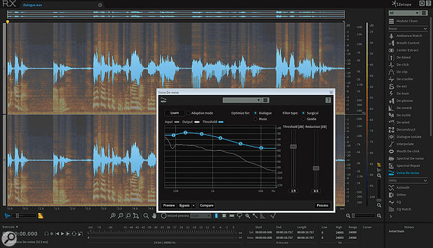 Voices are typically more exposed in podcasts than music, and no matter how much attention you pay when recording, there will likely be times when de-noising software such as iZotope's RX can really help you to deliver a polished result.