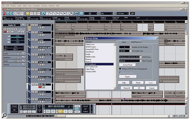 Cubase LE, here running on a PC, showing how the Firebox appears in the VST Multitrack window of the Device Setup box.