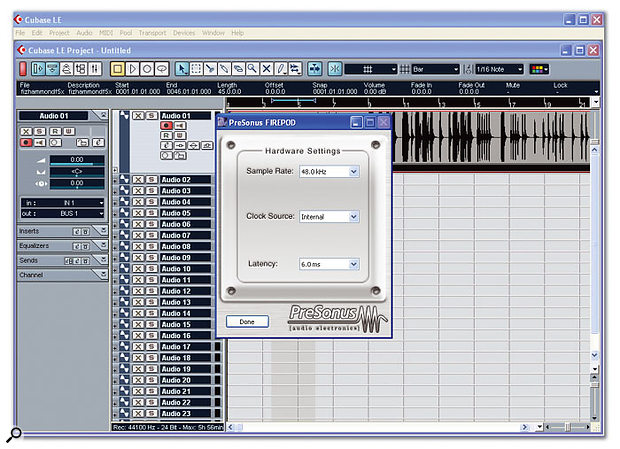 The simple PreSonus driver box, with the included Cubase LE software.