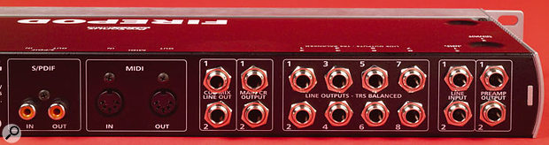 The Firepod's analogue interfacing includes an insert send/return loop on inputs 1 and 2 (right), plus eight balanced outputs and the Main and Cue outs, which allow you to monitor input signals at zero latency.