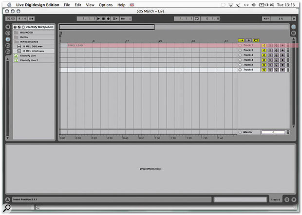 Audio files are added to Live tracks by dragging from the browser at the left-hand side of the arrange page.