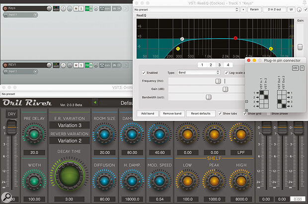 High‑ and low‑pass filtering a reverb can help it sit better in the mix. Neatly, Cockos Reaper can EQ the send differently for every source: each plug‑in's connector pin matrix allows you to route its output to separate channels on the same track, while letting the main signal through unaltered.
