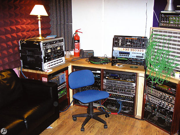 The control room at The Mews recording studios.