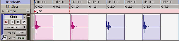1: Here's a kick drum track recorded at a tempo of 60bpm: you will see all the regions are on the beat.