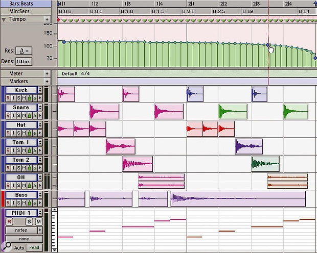 A two-bar drum part in Pro Tools. With each track set to tick-based mode (top), we can draw in a tempo change in the Tempo track (centre) and the regions will move in time whilst retaining their position in terms of bars & beats.