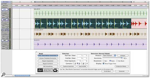 Selecting a kick drum track from which to derive a tempo map.
