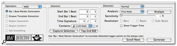 Beat Detective can now be used on MIDI tracks just like on audio, allowing you to conform the tempo of your song to a freely played MIDI performance.