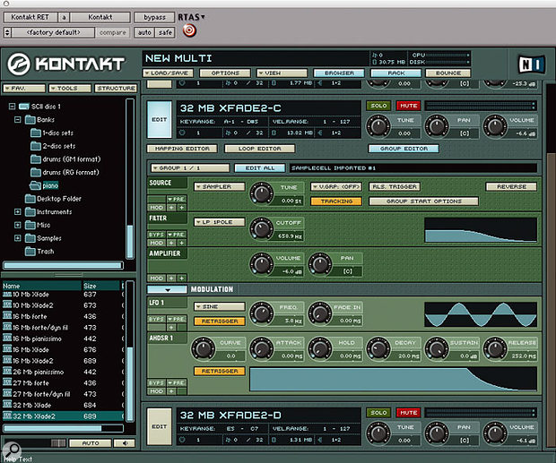 Kontakt has the advantage of being able to read Samplecell II files directly. If you navigate to the Bank file, and simply drag it into the main area of Kontakt's window, a Multi will be created with the individual instruments intact along with all their level and pan settings. The three screens show the keygroup, sample looping and modulation parameters retained as closely as possible within Kontakt.