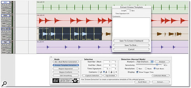 Extracting a Groove Template from a two-bar piece of recorded audio.