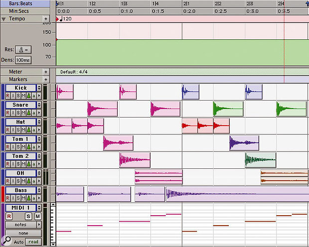 A two-bar drum part in Pro Tools with each track set to tick-based mode.