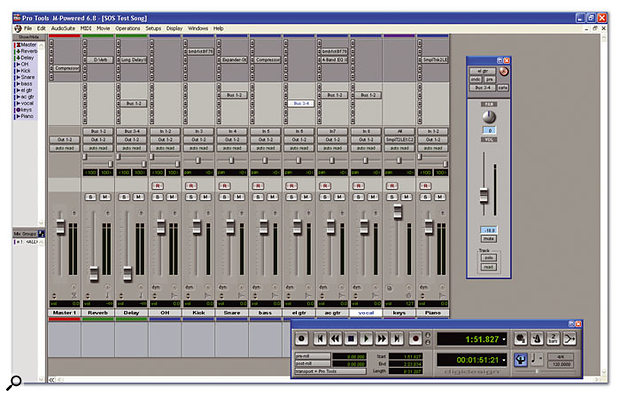 The Mix window in Pro Tools provides a standard 'virtual mixer', although nearly all of the same functions can be accessed from the Edit window.