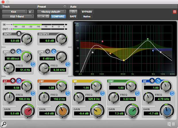 EQIII offers 6dB/octave filters and shelving bands with variable Q.