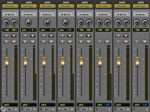 In the HD-only Trim automation mode, faders turn gold, and can be used to apply offsets to any existing level automation.