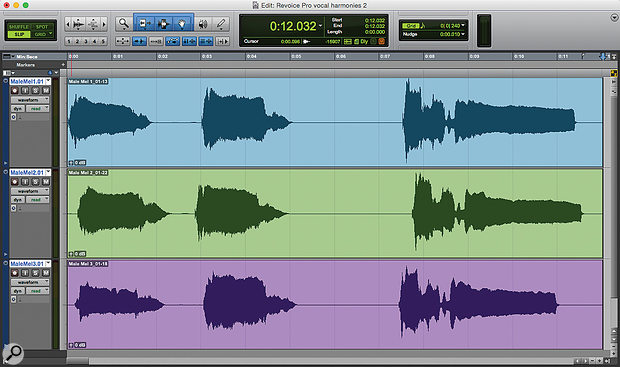 Screen 1: These layered vocal parts are clearly out of time.