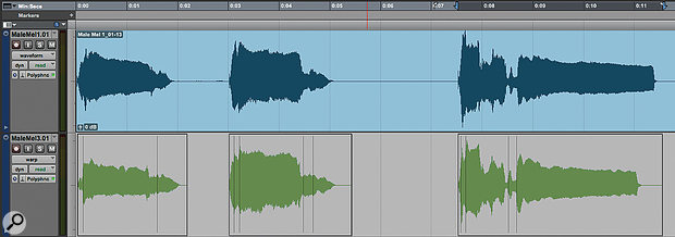 Screen 2: I  have manually edited the second and third track to put the start of each phrase in time, but timing discrepancies within the phrases remain.