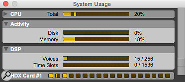 Voices are among the system resources that you can keep tabs on in the System Usage window. Since Pro Tools 11, however, each HDX card has 64 extra 'hidden' voices used for mixer routing that don't show up here.