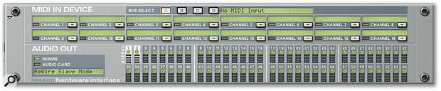 Reason's Hardware Interface rack module, indicating that Reason is running as a Rewire slave to Pro Tools.