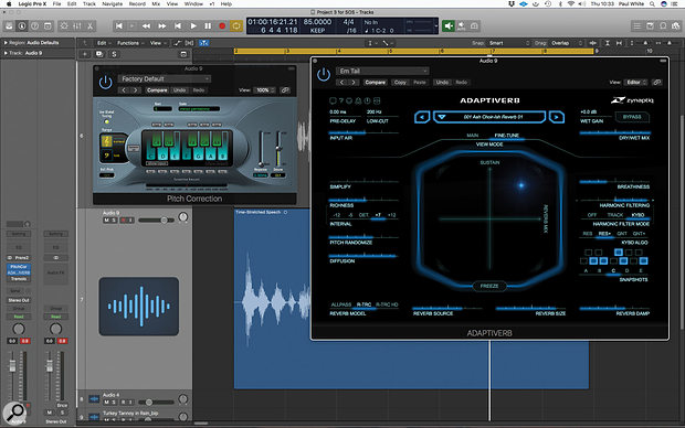 Pads from spoken word 4: Zynaptiq's Adaptiverb is particularly good at making your processed voice recording sound more musical, because you can set the reverb tail to 'pick out' specific scale notes.