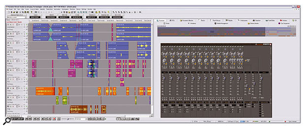 Pyramix's virtual mixer might appear simple, but it can be configured for complex routings and processing setups.