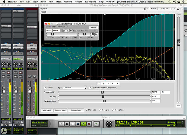 Simulating, in Reaper, the crosstalk that results from capacitive coupling in analogue audio electronics. Note that the channels are reversed on the Crosstalk bus, and that the EQ changes both the frequency and phase of the signal.