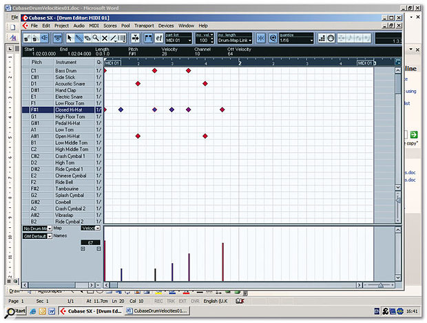 Cubase's Drum Editor allows you to edit velocity values for any individual instrument within a drum kit MIDI part, without affecting the velocities of the other instruments.
