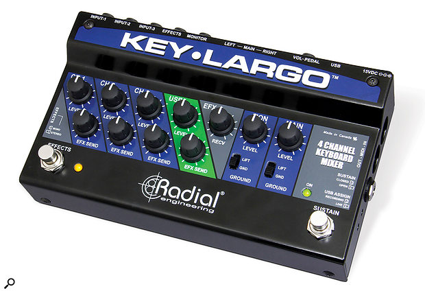A transformer-balanced line-level output, such as from the Radial Key Largo, will lose signal if a TRS cable is fed into a DI box's unbalanced input. One solution is to pad down the line output and feed it directly to the FOH console's mic inputs.