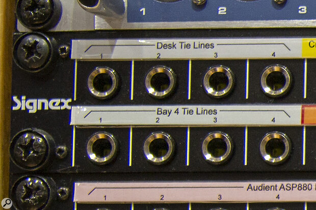 When working with more than one patchbay, for example one for mic inputs and another for line sources, it can be agood idea to set up 'tie‑lines' between them.