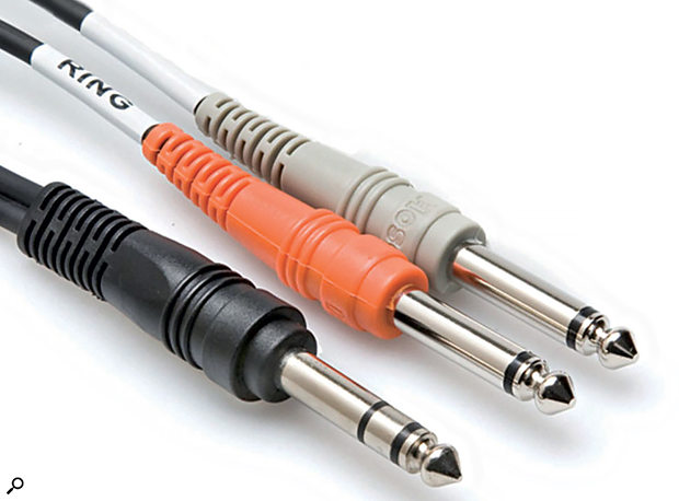 The black cable is a TRS jack plug, while the others are both TS types.