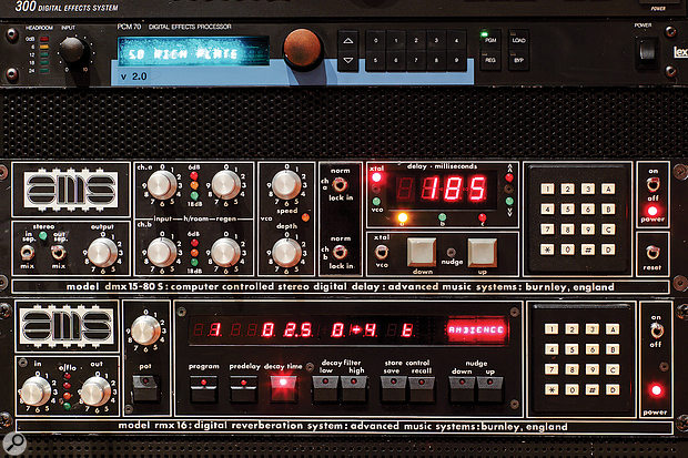 Much of a  high–end studio's equipment budget in the 1980s would have been spent on high–quality algorithmic reverberators and delays — pictured here are an AMS DMX 15-80 S delay unit (middle), the AMS RMX 16 reverb (bottom) and, just making it into the 80s, the Lexicon PCM70 reverb (top). But even high–end studios would try to make the most of their investments by using these as send effects that could be applied to many tracks at once.