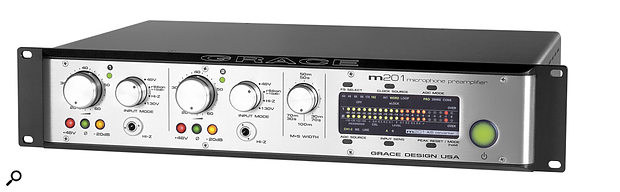 When hooking apreamp such as this Grace Design m201 AD, which has both analogue and digital outputs, to an audio interface, it's important to make sure the analogue sensitivity settings of both units are suitably configured — otherwise you can end up with wildly different levels from the digital and analogue preamp outputs.