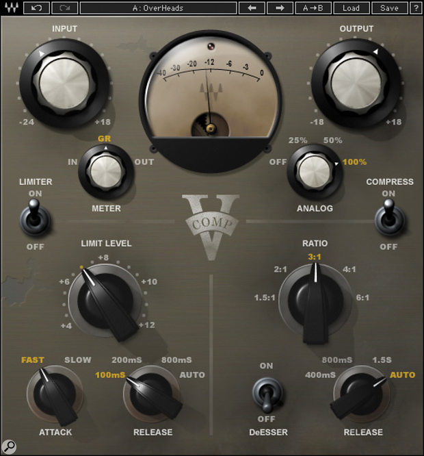 Many compressors , including the Waves V-Comp pictured here, offer avery useful auto‑release or auto‑recovery facility, which allows the compressor to respond differently to transients and to sustained sounds that exceed the threshold. But that's rarely agood option for compressors used in parallel with the dry source signal.