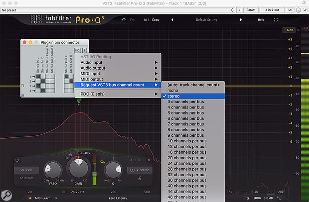 Screen 1: Pro‑Q 3 must be instructed by Reaper to treat tracks 3+4 as an external side-chain signal — and you do that in the 'Plug-in pin connector' window for the instance of Pro‑Q 3 in question...