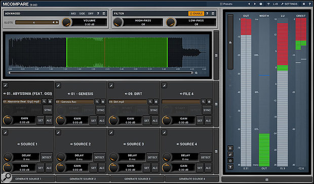 While dedicated plug-ins such as Melda's MCompare, Sample Magic's Magic AB and Meterplugs' Perception all, in slightly different ways, provide useful means of making comparisons on the fly, they're probably best used as a  complement to -- rather than a  substitute for -- bouncing out and referencing your mixes in the traditional way.