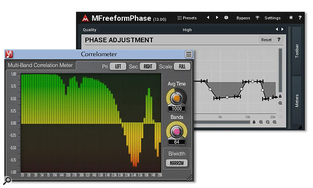 Here, Voxengo's freeware Correlometer (left) is identifying phase problems between the left and right channels of a  stereo file — a  situation which could be ameliorated using the setting shown on Melda's freeware MFreeformPhase plug-in (right).