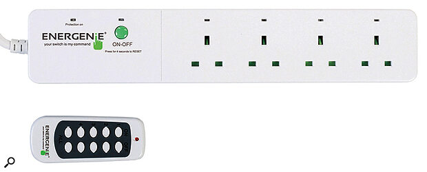 A remote control gang strip like this, with individually switchable outlets, can help you reduce the highest in‑rush current when powering up your studio.