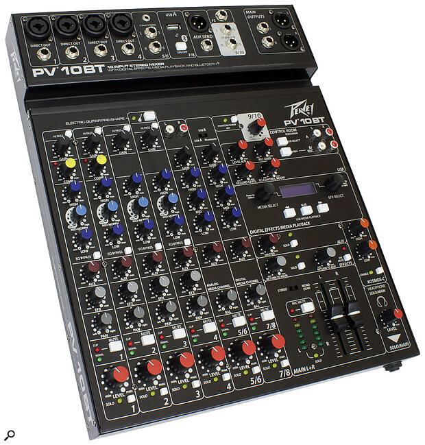 The Peavey PV10BT mixer features a 'Kosmos-C' audio enhancer — might this be the culprit?