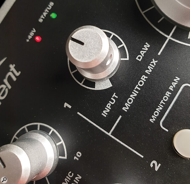 Many desktop audio interfaces feature a knob that allows you to set the desired blend of input and playback signals.