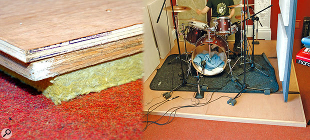 A simple but effective drum riser that prevents structure-borne vibration can be made by floating plywood (or similar) on mineral-wool slabs. Here you can see the basic construction on the left and the finished article on the right.