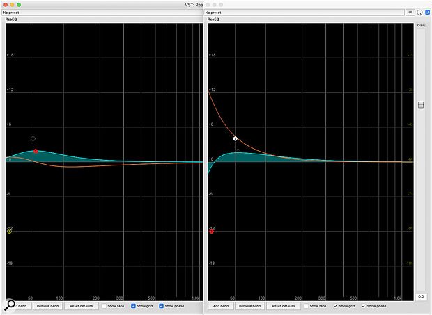 For about the same amount of broad LF boost with a  minimum-phase EQ, a  bell filter (left screen) results in less phase shift (red curve) than a  shelf coupled with a  high-pass filter (right screen).