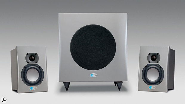 Subwoofer placement is critical when using a 2.1 monitoring system, like Blue Sky's Media Desk.