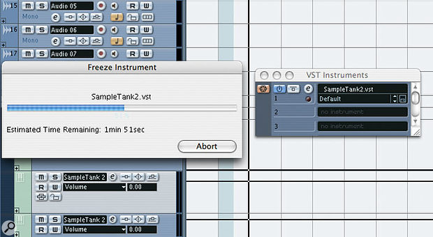 The time it takes to freeze a track in Cubase SX 2 will vary depending on the length of the Project.