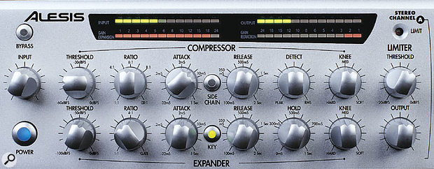 Alesis' CLX440 Compressor/Expander is equipped with (clockwise from top left) input level, output level, gain reduction and gain expansion meters.