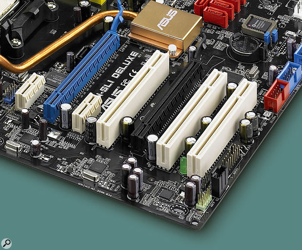 The Asus M2N-SLI Deluxe motherboard features a selection of PCIe and PCI slots. Left to right: PCIe 1x, PCIe 16x, PCIe 1x, PCI, PCIe 16x, PCI, PCI.
