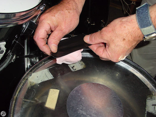 Make sure that the toms and snare are sufficiently damped before you start recording.