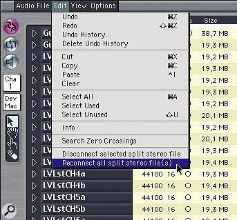 Q How do I convert a split-stereo file to interleaved stereo?